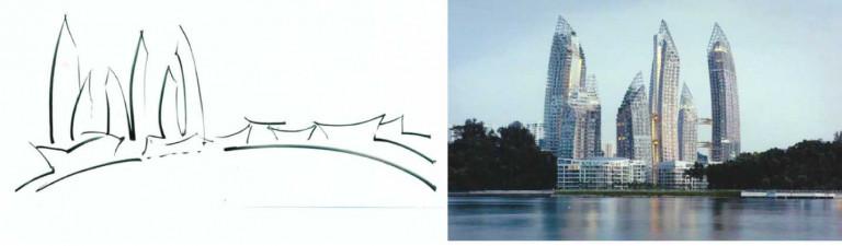 Khu chung cư Phản xạ (Reflections) tại vịnh Keppel ở Singapore là một quần thể công trình khá thú vị. Bản vẽ sơ phác của Libeskind